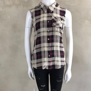 My Gemma 100% Silk Sleeveless Plaid Top